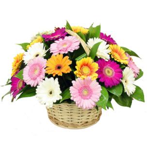 """Цветы в корзинке """"Микс гербер"""""""